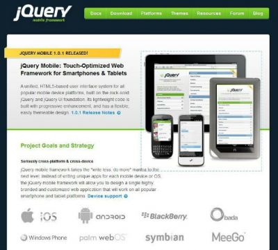 jQuary Mobile website screenshot